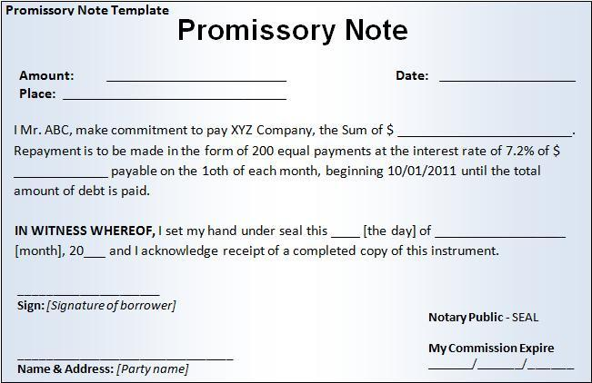 Little Promissory Note Form  Legal Promissory Note Sample